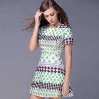 New spring and summer style round neck short sleeve plaid jacquard dress Europe and the United States market, breathable stitching A-shaped skirt