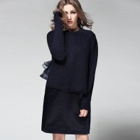 New spring and summer round neck long-sleeved knit sweater organza sleeveless dress two-piece