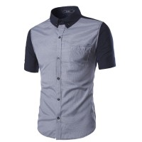 Hot summer new fine houndstooth colorful casual men's short-sleeved shirt
