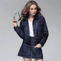 Spring new models in Europe and the US market fashion beaded denim suit jacket beaded skirt
