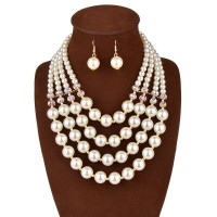 European market and the US market pearl crystal necklace long style necklace Ms. earrings bridal jewelry sets Accessories