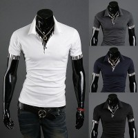 Low price good quality men's new style zebra personalized stitching lapel short-sleeved t-shirt