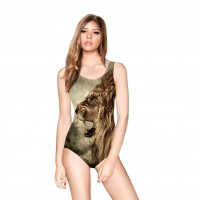 The new retro style lion digital prints in Europe and the US market fashion sexy piece halter swimsuit Ms. discounts