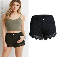 Slim openwork lace shorts shorts shorts European market and the American market hot sales lace stitching jeans shorts