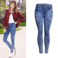 New European leg of Miss Gao Yao Ms. mounted snowflake jeans with elastic waistband Slim stretch pencil pants
