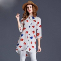 New models in Europe and the US market ladies lips print shirt fashion loose big yards long style shirt ladies