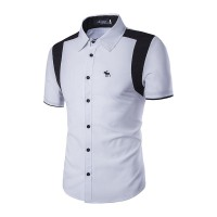 Low price selling casual men cultivating short-sleeved shirt embroidered elk