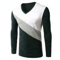 Lower selling prices of new models men's spring loaded Slim colorful V-shaped neck t-shirt