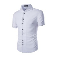 Low price selling more casual buckle collar men cultivating short-sleeved shirt