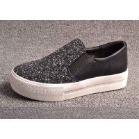 Selling winter new style leather ladies' shoes thick crust Ms. shoes simple white sequined shoes Fast delivery
