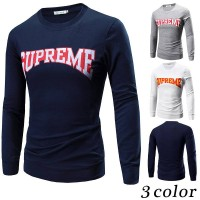 The new spring and summer style letters printed mens round neck long-sleeved T-shirt dress