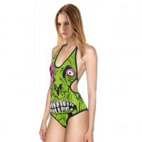 Hot sales green eyes prints swimsuit sexy sling Ms. Slim Body cross piece swimsuit
