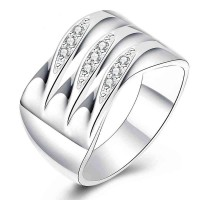 Hot sales creative wide ring discounted CZ Ring silver jewelry in Europe and the US market fashion jewelry