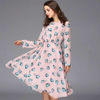 Spring new models in Europe and the US market fashion silk dress slim long-sleeved dress