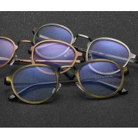 1610 new style anti-blue glasses metal round box plain mirror the trend of the eyeglass frame can be equipped with myopia