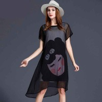 European market and the US market large size women's summer new models 200 pounds overweight body slim partial fat lady chiffon print dress