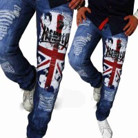 Lower selling prices of new models men straight casual personality hole jeans washing printing