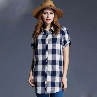 European market and the US market large size women's summer new style loose overweight ladies long style slim plaid shirt