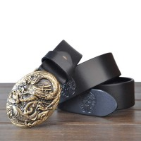 Arowana pattern leather belt men's first layer of leather belt fashion models wild cowboy belt copper belt