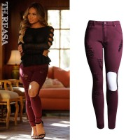 European market and the US market the new fashion personality Slim waist stretch pants color pencil pants Slim trousers