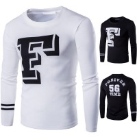 Lower selling prices of new models letters printed men's long-sleeved t-shirt large size men's dress
