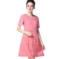 Linen jacquard dress temperament shape summer new models in Europe and the US market fashion Slim round neck short sleeve slim A-shape