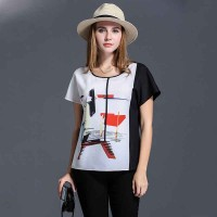 Large size women's summer new models overweight ladies chiffon shirt plus fertilizer to increase fashion printed colorful T-shirt