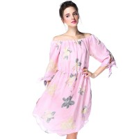 Summer new models in Europe and the US market fashion lady Slim Slim temperament chiffon dress printed Maple Leaf