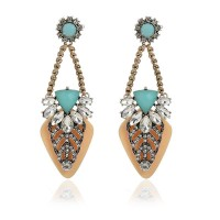 Fashion Europe and the United States market retro temperament aristocratic style drop shape Austrian drilling sexy nightclub personality exaggerated large earrings earrings