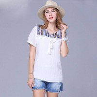 Large size women's summer new style modern muslin blouse overweight ladies tassel T-shirt printing Ms.