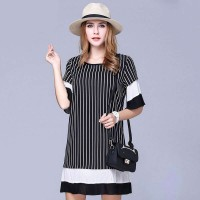 Overweight women lady new style overweight ladies irregular striped chiffon sleeve big yards summer dress low price discount