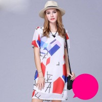 European market and the US market large size women's summer new style fashion colorful short-sleeved printed chiffon dress code big discounts