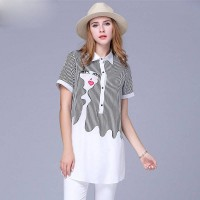 European market and the US market large size women's summer new models overweight ladies short-sleeved chiffon shirt shirt striped shirt printing Ms.