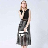 Summer new models in Europe and the US market Slim dress European leg stripes stitching vest skirt big skirt hollow