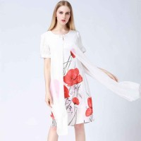 Europe station new style two-piece short-sleeved dress fashion printing market in Europe and the United States women's irregular skirt