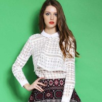 Summer new fashion style in Europe and the US market a special yarn perspective sexy stitching collar long-sleeved white shirt blouse ladies