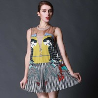 Summer new style fashion printing stitching organza sleeveless dress vest skirt