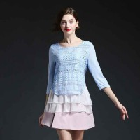 Europe station summer new style solid color stitching lace shirt European market and the US market new models suit long-sleeved blouse