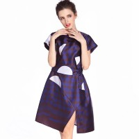 Summer new fashion style bow wave point printing waist Slim minimalist dress
