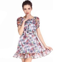 Fashionable summer organza printed word irregularly shaped collar side dress cocktail dresses