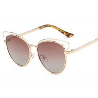 Polarized sunglasses fashion metal P0715 new style cat eye shape sunglasses driving sunglasses