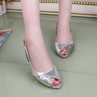 Summer new style rough with open-toed sandals sequined sexy casual open-toed sandals sweet ladies shoes large size