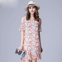 Large size women overweight ladies summer new style print chiffon strapless dress irregular low price good quality
