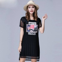 Summer new style large size women overweight ladies fashion texture hollow lace two-piece dress discount