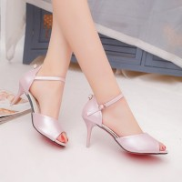Summer new style thin high-heeled word buckle solid shape with open-toed shoes all matching open-toed sandals Ms. discounts
