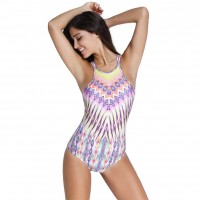 Retro triangle tribal print beach sexy halter straps hollow piece swimsuit with a chest pad party 41843