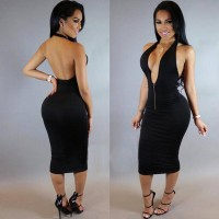 Hot fashion sexy nightclub dress lace stitching long-sleeved dress