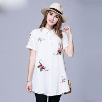 Large size women's summer new models overweight ladies fashion slim pattern cartoon style cotton blouses