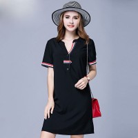 European market and the US market large size women's summer new models overweight ladies stitching ribbon v-collar slim women's short-sleeved dress 200 pounds