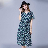 Collar style long dress Europe and the United States market large size women overweight ladies summer new style chiffon small v-type printing